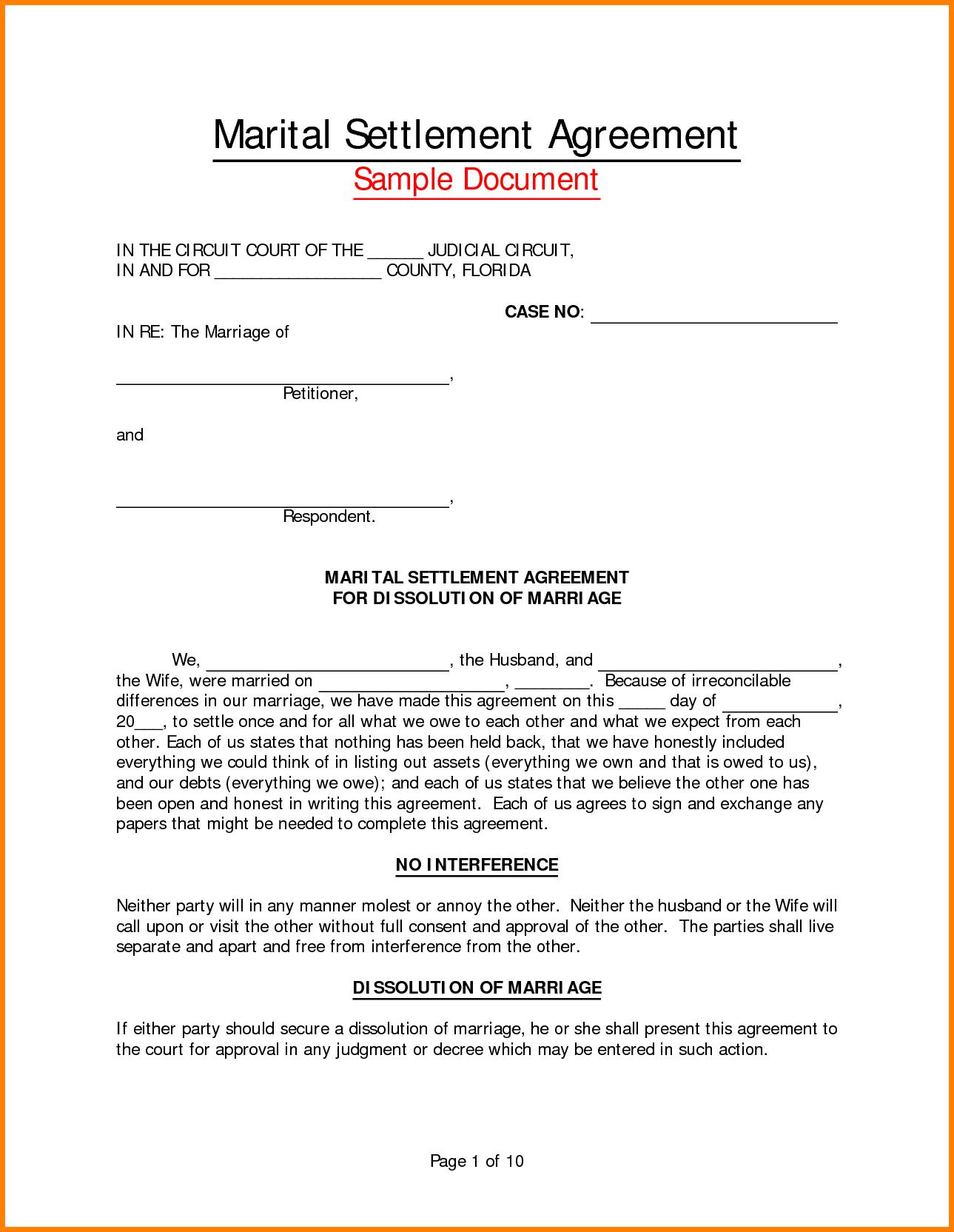 Divorce Settlement Agreement Form  Instinctual Intelligence Pertaining To Free Divorce Settlement Agreement Template