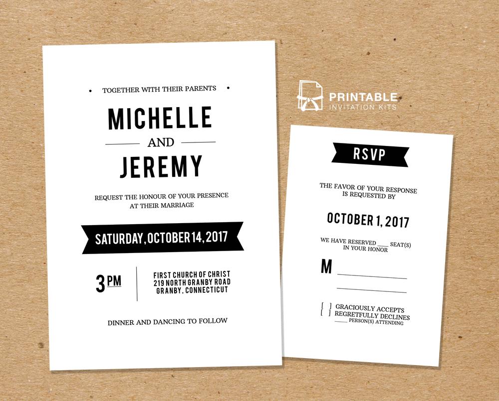 Diy Free Pdf Printable Wedding Invitation And Rsvp  Wedding For Free Printable Wedding Rsvp Card Templates