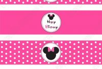 Diy Minnie Mouse Printable Birthday Party Water Bottle Labels Wraps intended for Minnie Mouse Water Bottle Labels Template