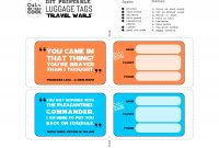 Diy Printable Luggage Tags 'travel Wars' pertaining to Luggage Label Template Free Download