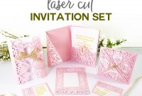 "Diy Wedding Invitation Templates  Free ""laser Cut"" Set  Jennifer Maker with Pop Up Wedding Card Template Free"