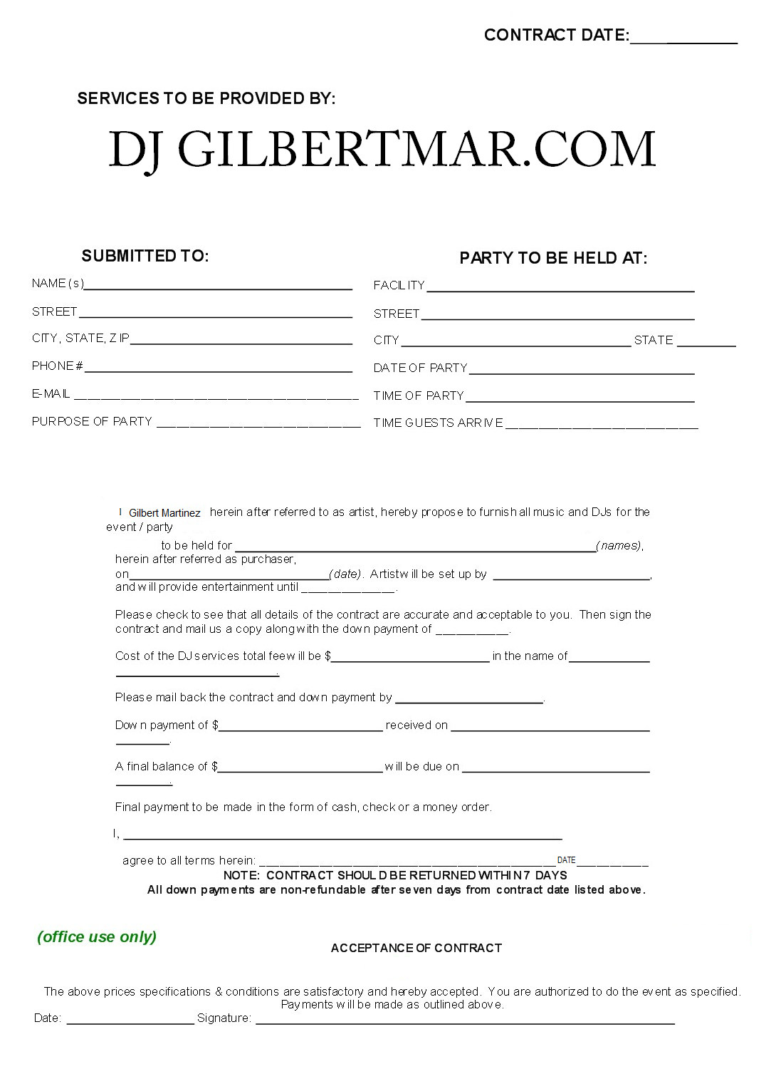 Dj Contract Template  Non Compete Agreement  D J Contracts  Real Inside Free Non Compete Agreement Template