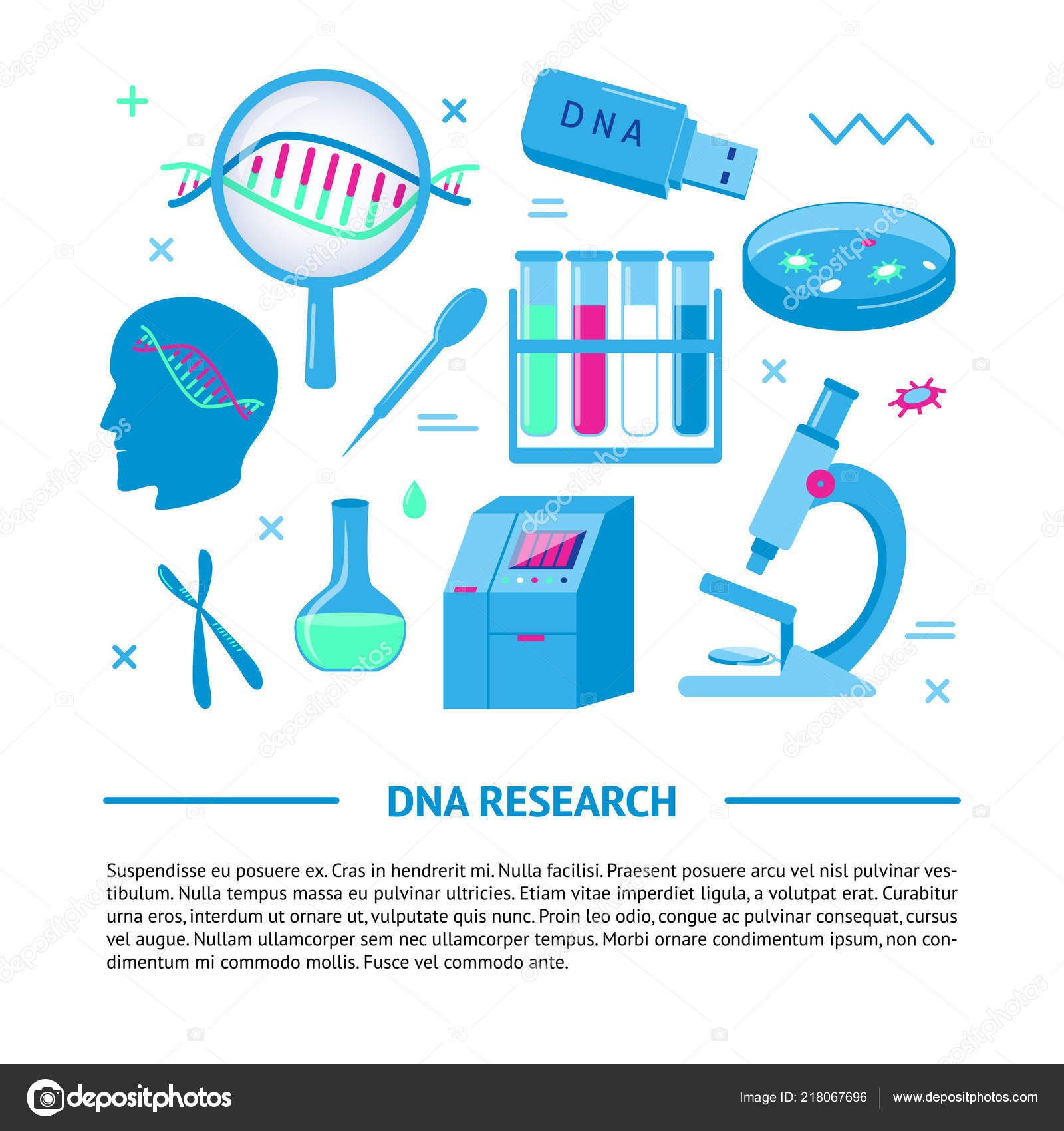 Dna Research Medical Banner Template In Flat Style — Stock Vector In Medical Banner Template