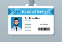 Doctor Id Card Template Medical Identity Badge Vector Image inside Id Card Template Ai