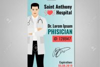 Doctors Id Card With Hospital Logo And Phisician Image Medical intended for Hospital Id Card Template