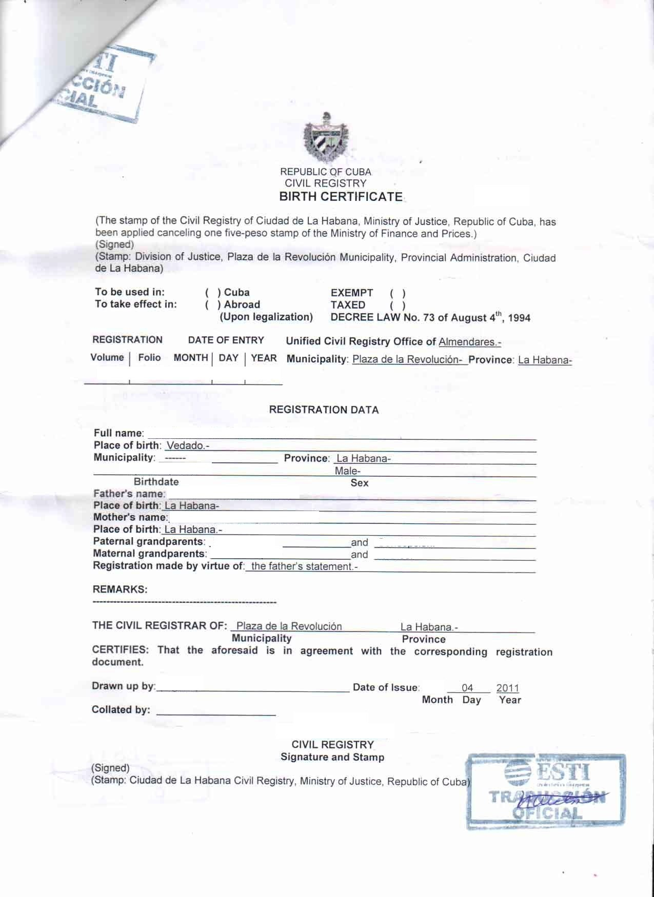Document Translation  Cubacityhall Pertaining To Marriage Certificate Translation From Spanish To English Template