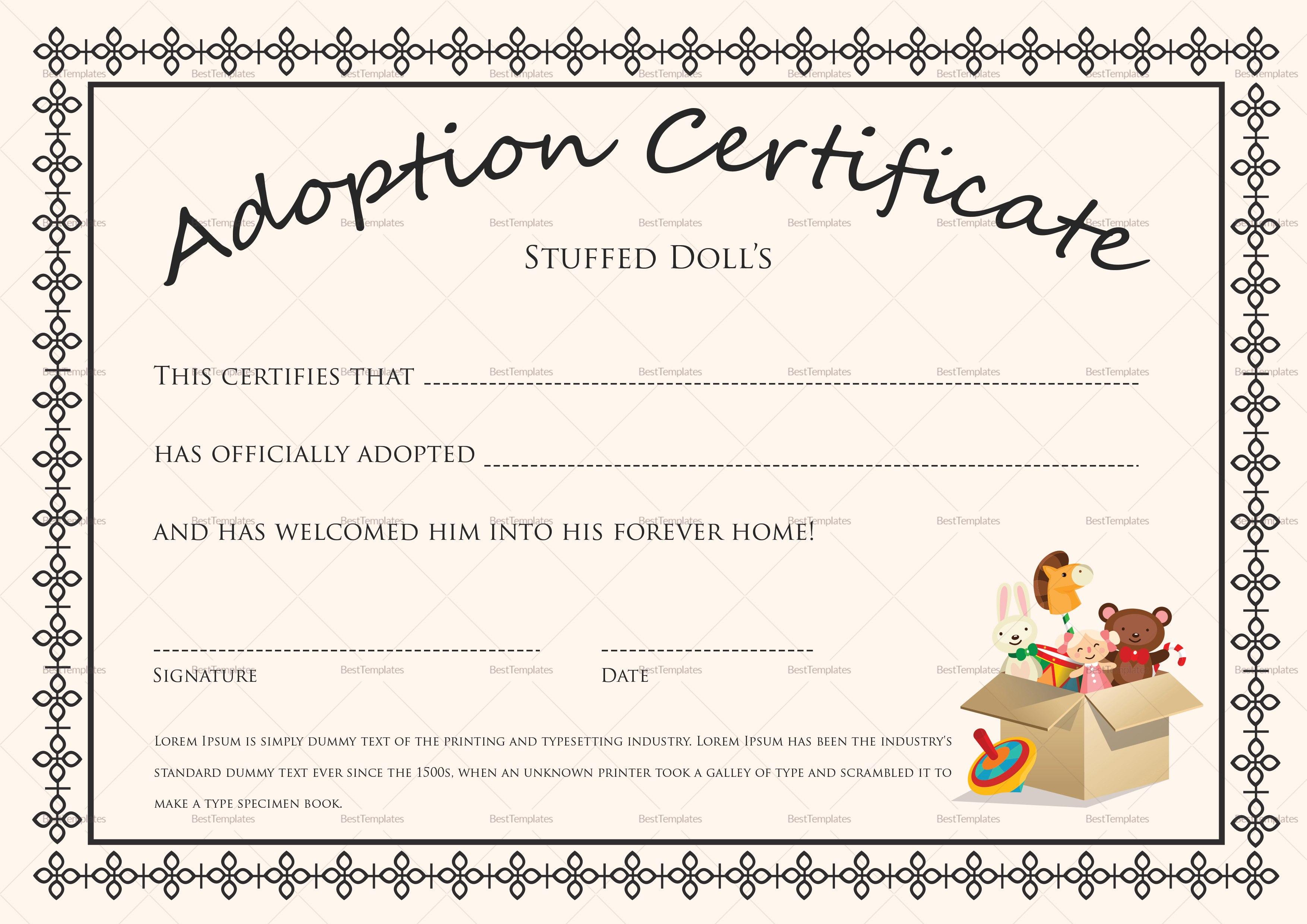Doll Adoption Certificate Design Template In Psd Word Pertaining To Adoption Certificate Template