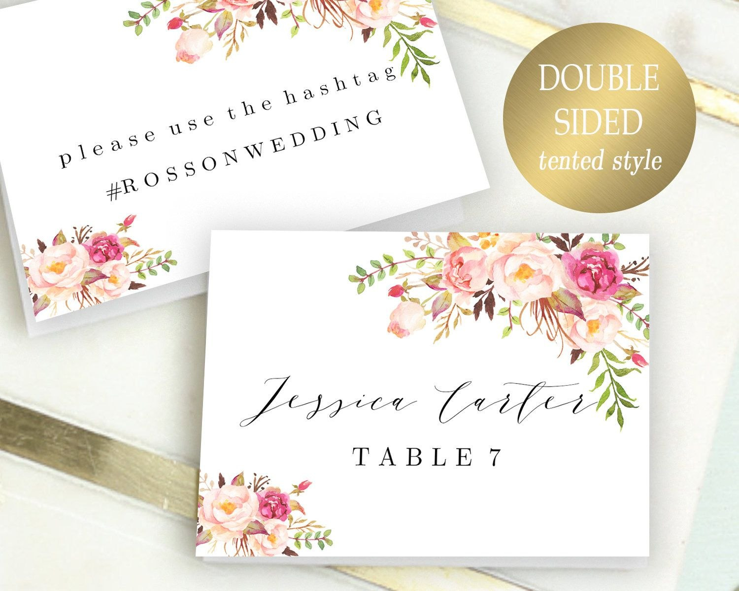 Double Sided Place Cards Printable Place Card Template Editable Throughout Reserved Cards For Tables Templates