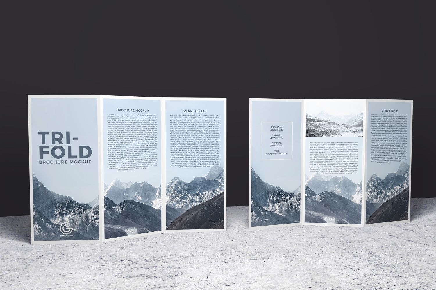 Doublesided Trifold Brochure Psd Mockup  Brochure Mockups In Double Sided Tri Fold Brochure Template