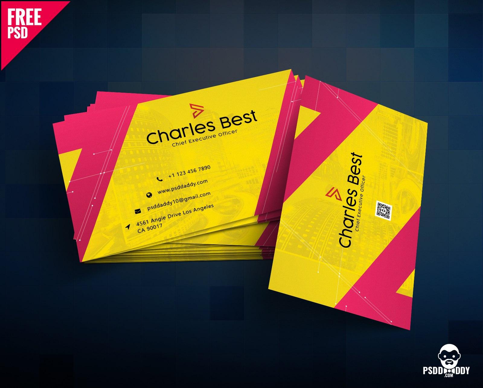 Download Creative Business Card Free Psd  Psddaddy Regarding Business Card Size Psd Template