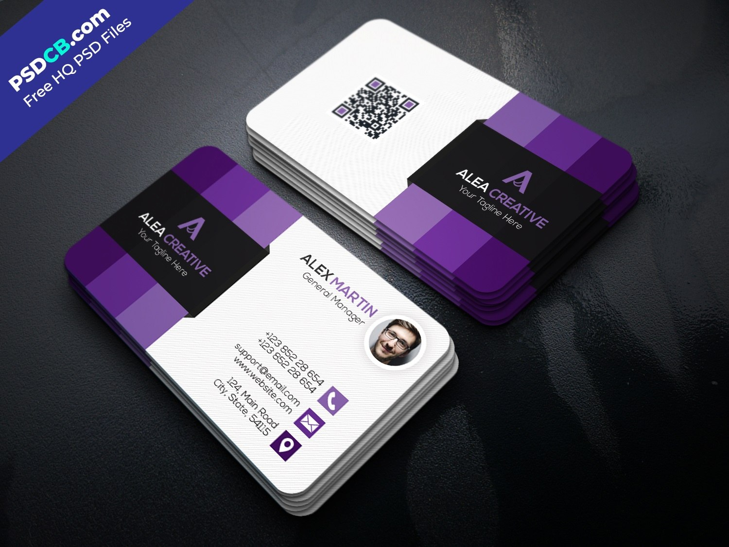 Download Free Modern Business Card Template Psd Set Purple Ideas Within Name Card Photoshop Template