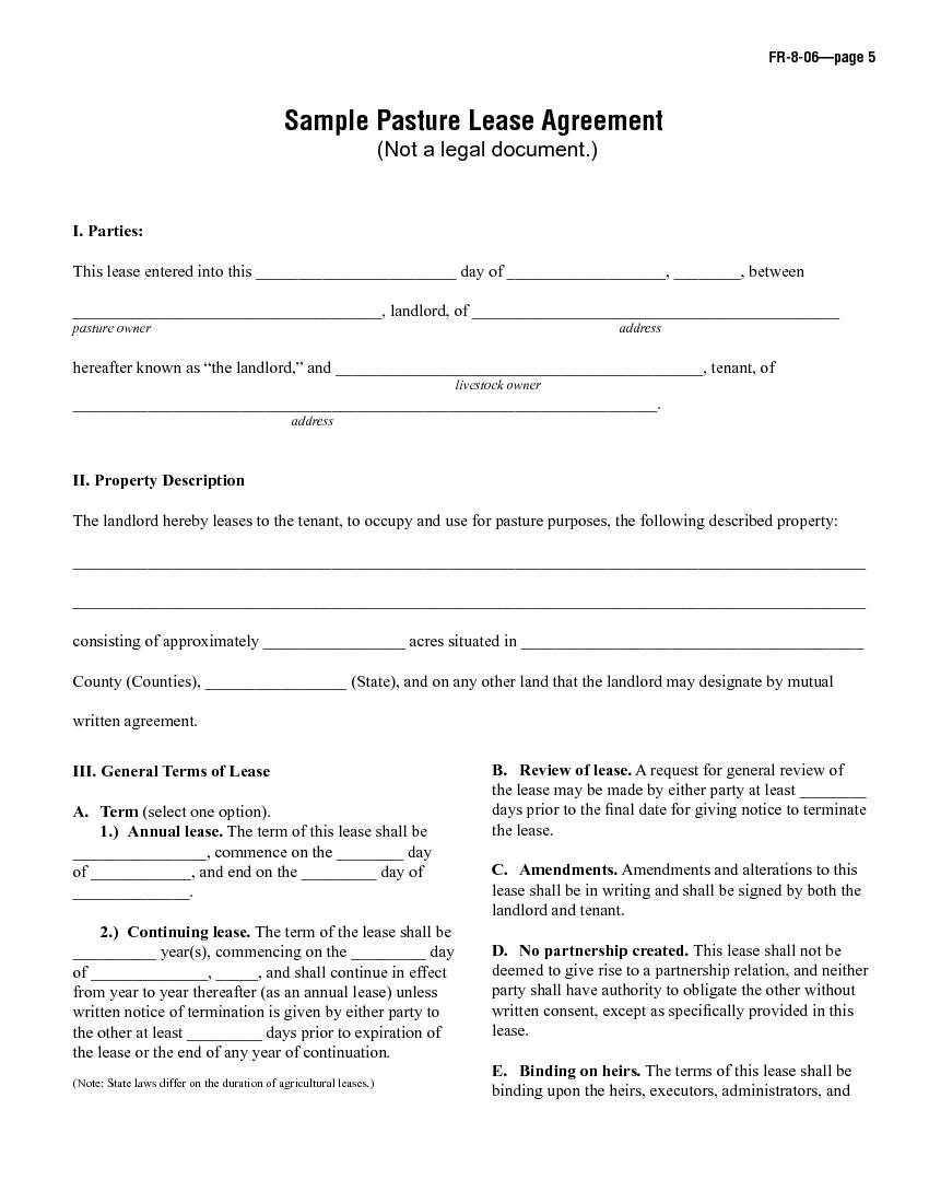 Download Free Sample Pasture Lease Agreement  Printable Lease Agreement Inside Ranch Lease Agreement Template