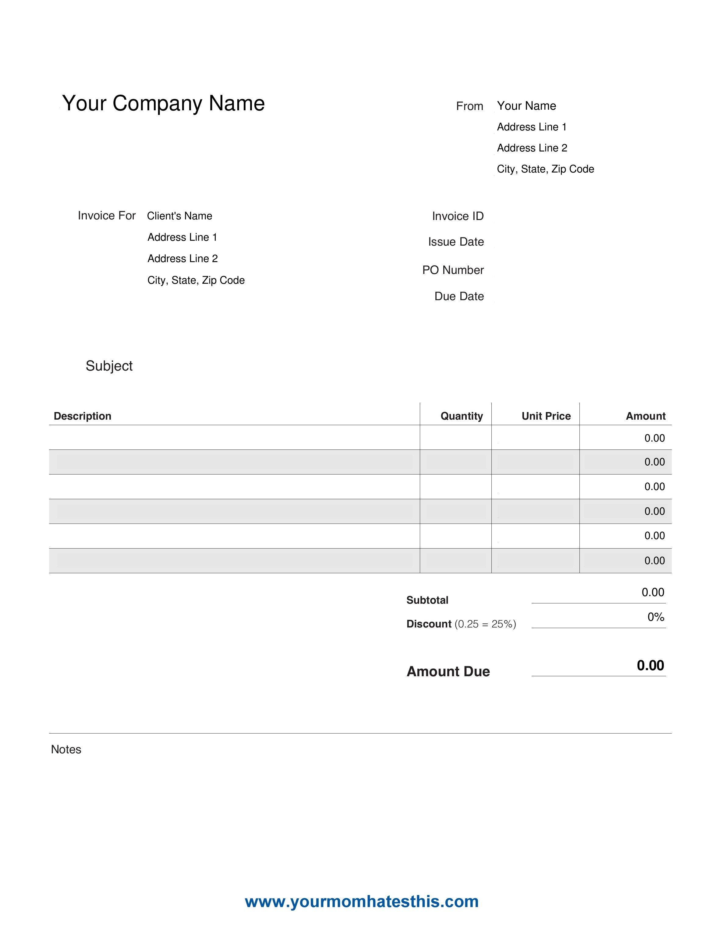 Download Invoice Templates – Pdf Sample Intended For Make Your Own Invoice Template Free