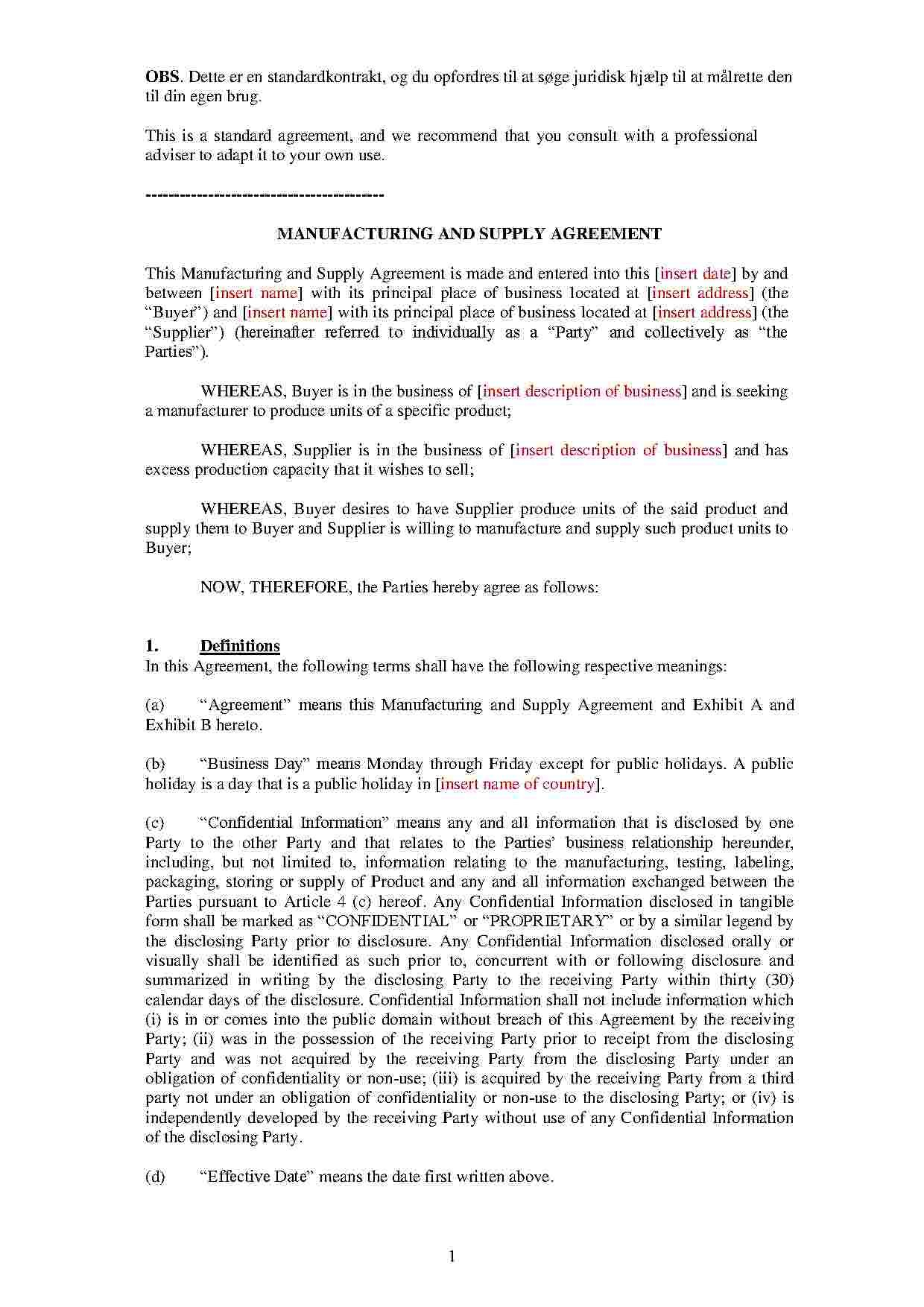 Download Manufacturing And Supply Agreement Style  Template For Pertaining To Manufacturing Supply Agreement Templates
