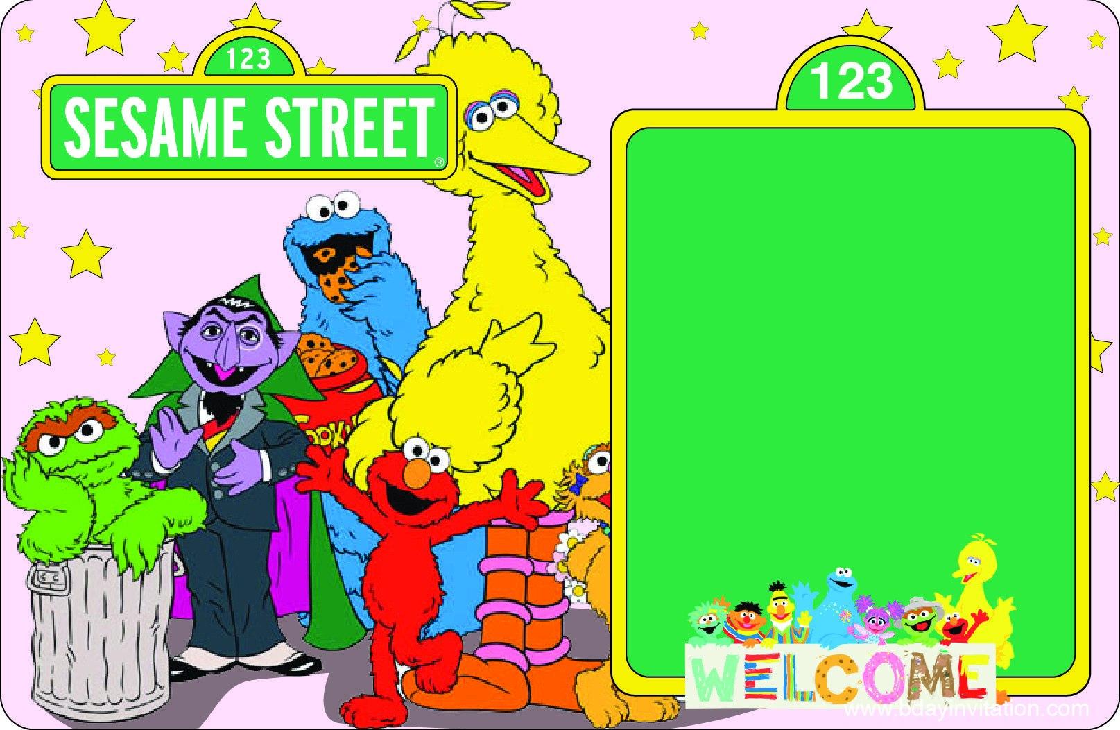 Download Now Free Printable Sesame Street Birthday Invitation Within Sesame Street Banner Template