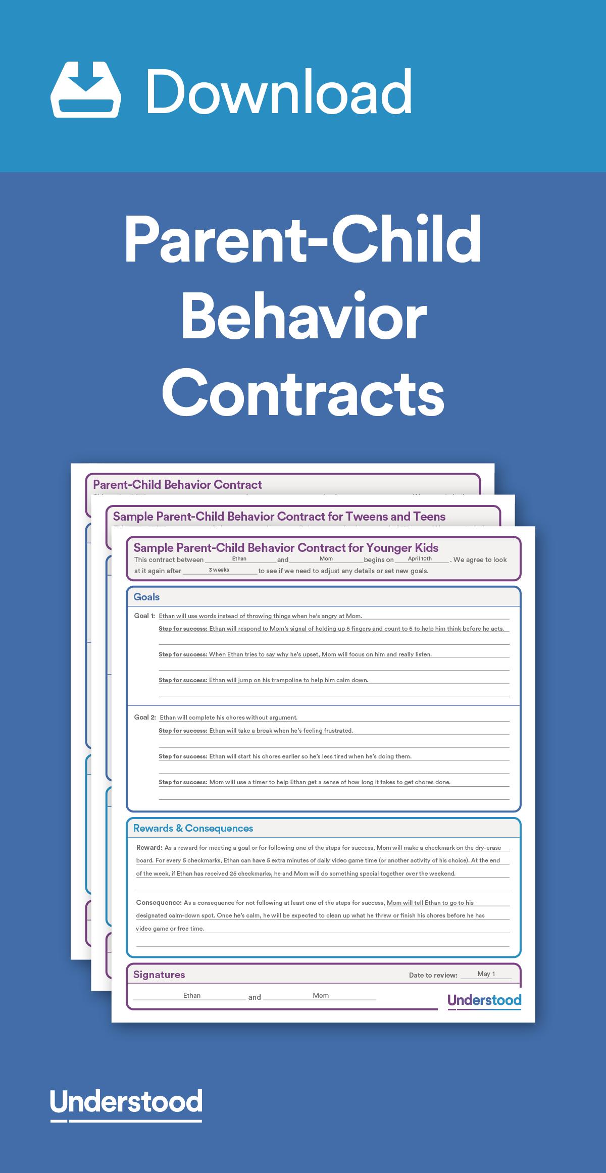 Download Parentchild Behavior Contracts  Behavior Issues Regarding Good Behavior Contract Templates
