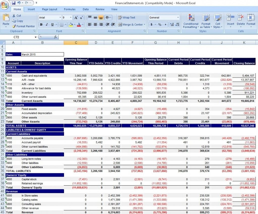 Download Personal Financial Statement Template Excel From Intended For Excel Financial Report Templates