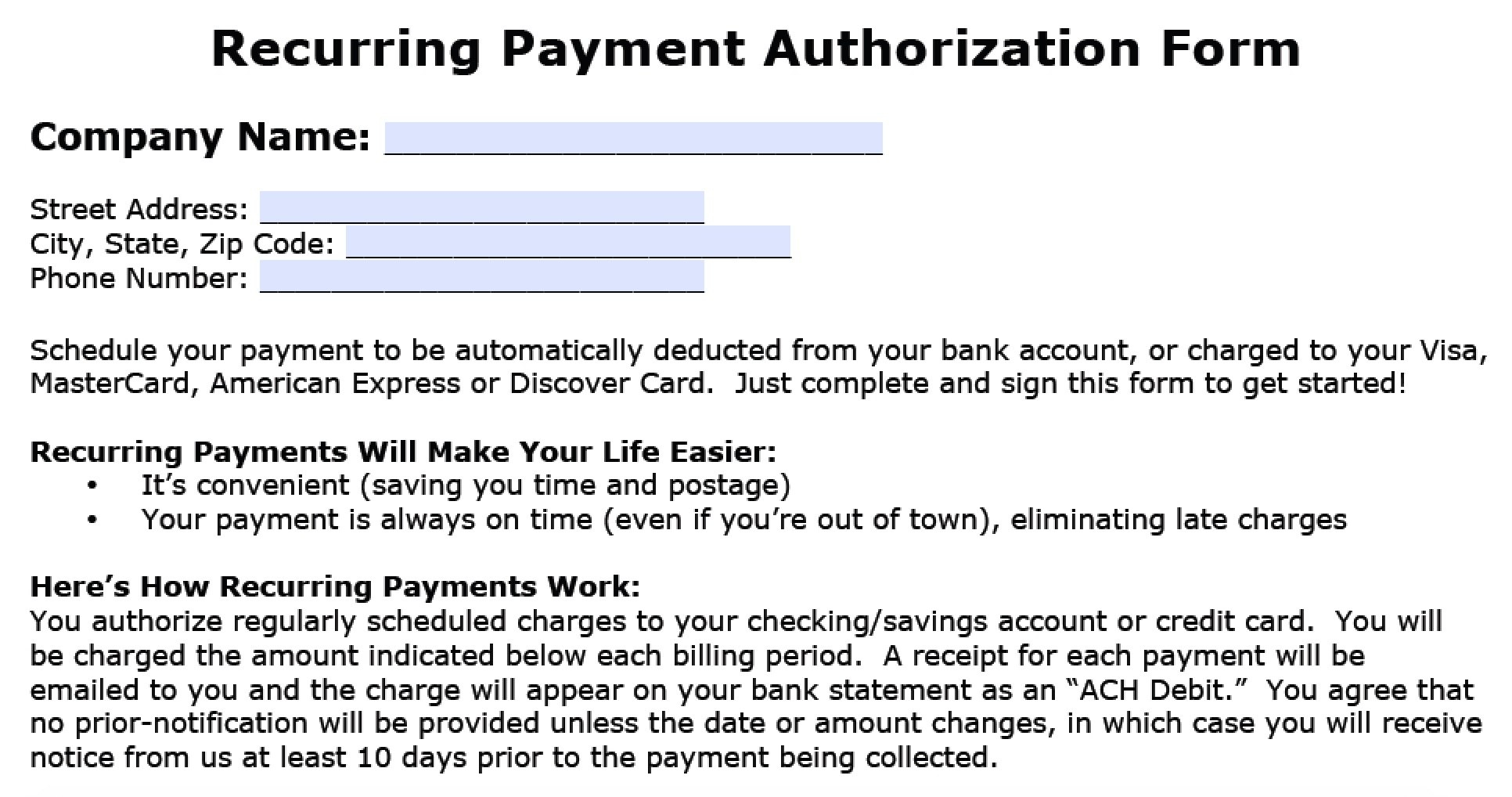 Download Recurring Payment Authorization Form Template  Credit Card Inside Credit Card Billing Authorization Form Template