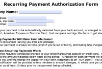 Download Recurring Payment Authorization Form Template  Credit Card regarding Credit Card Payment Form Template Pdf