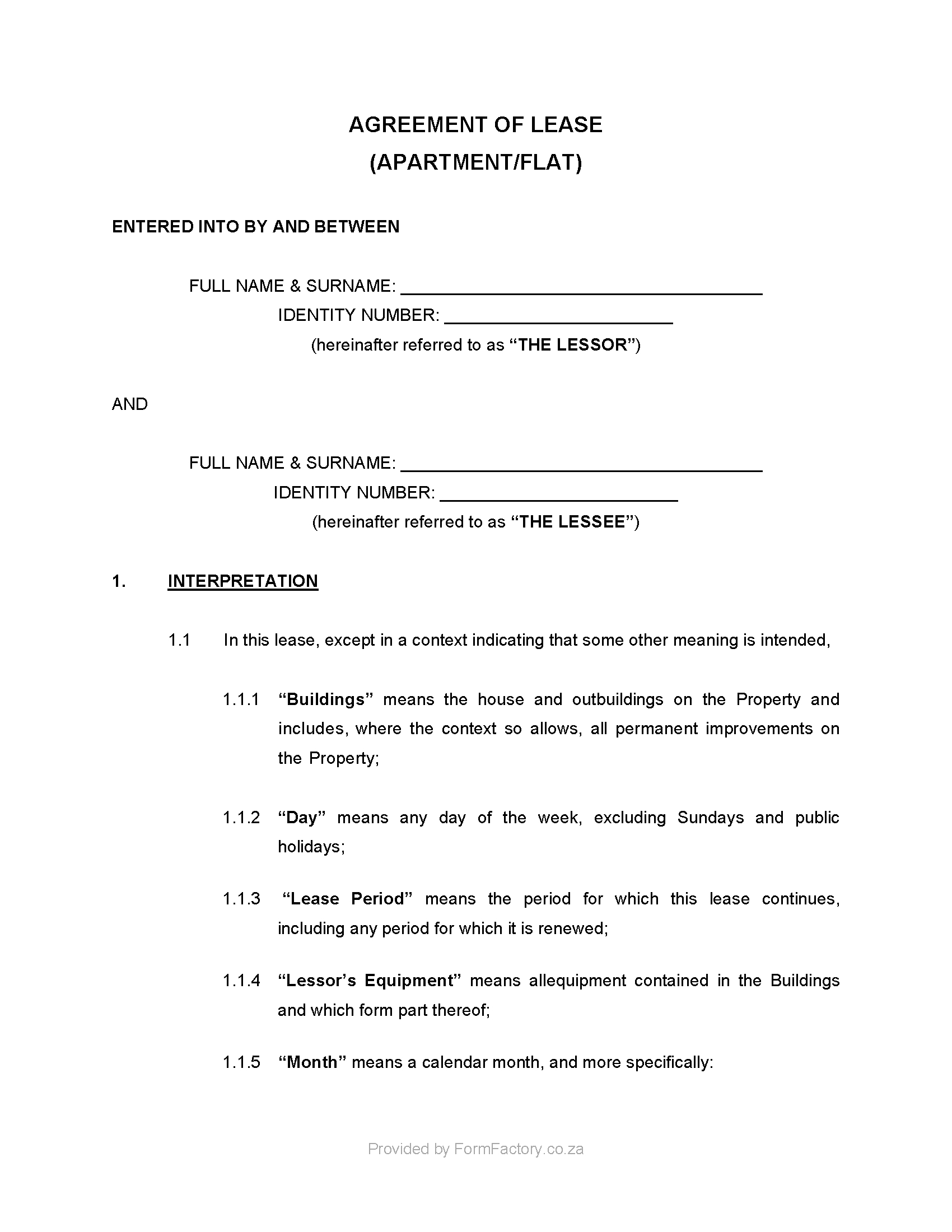 Download Residential Lease Agreement Template  Formfactory With Building Rental Agreement Template