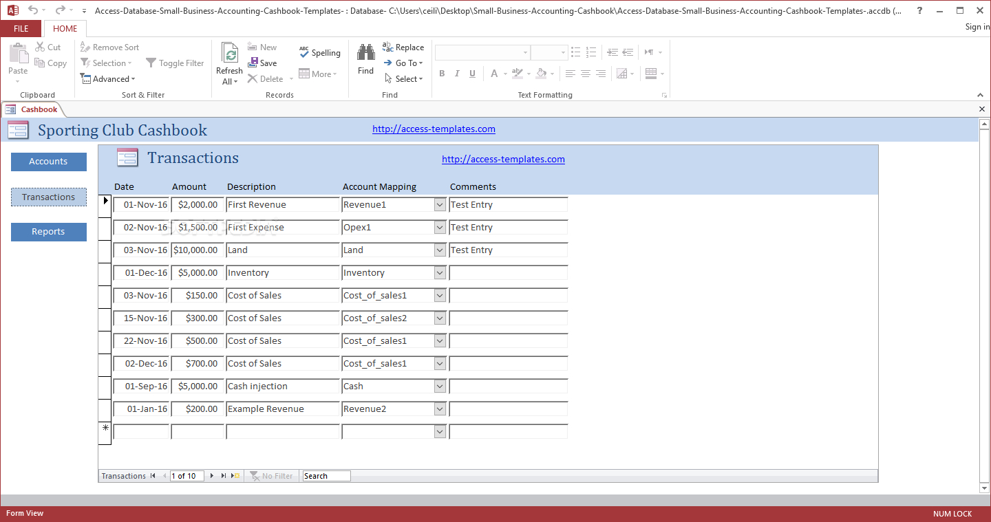 Download Small Business Accounting Cashbook Access Database Templates With Regard To Small Business Access Database Template