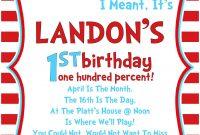Dr Seuss Birthday Invitations  Free Printable Birthday throughout Dr Seuss Birthday Card Template