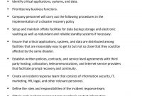 Draft Disaster Recovery Policy Template  Pdf with Disaster Recovery Service Level Agreement Template