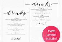 Drink Menu Template Free Best Of Drinks Menu Template · Wedding within Free Printable Menu Templates For Wedding