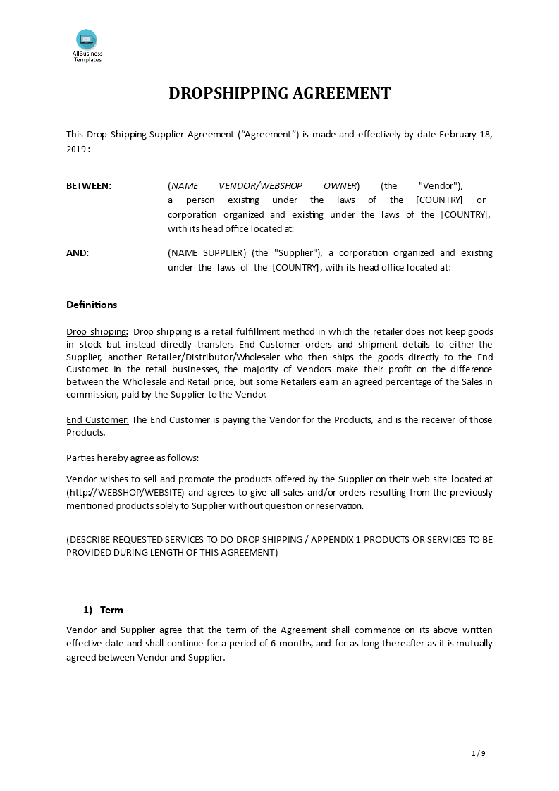 Drop Shipping Agreement Template  Premium Schablone With Heads Of Terms Agreement Template