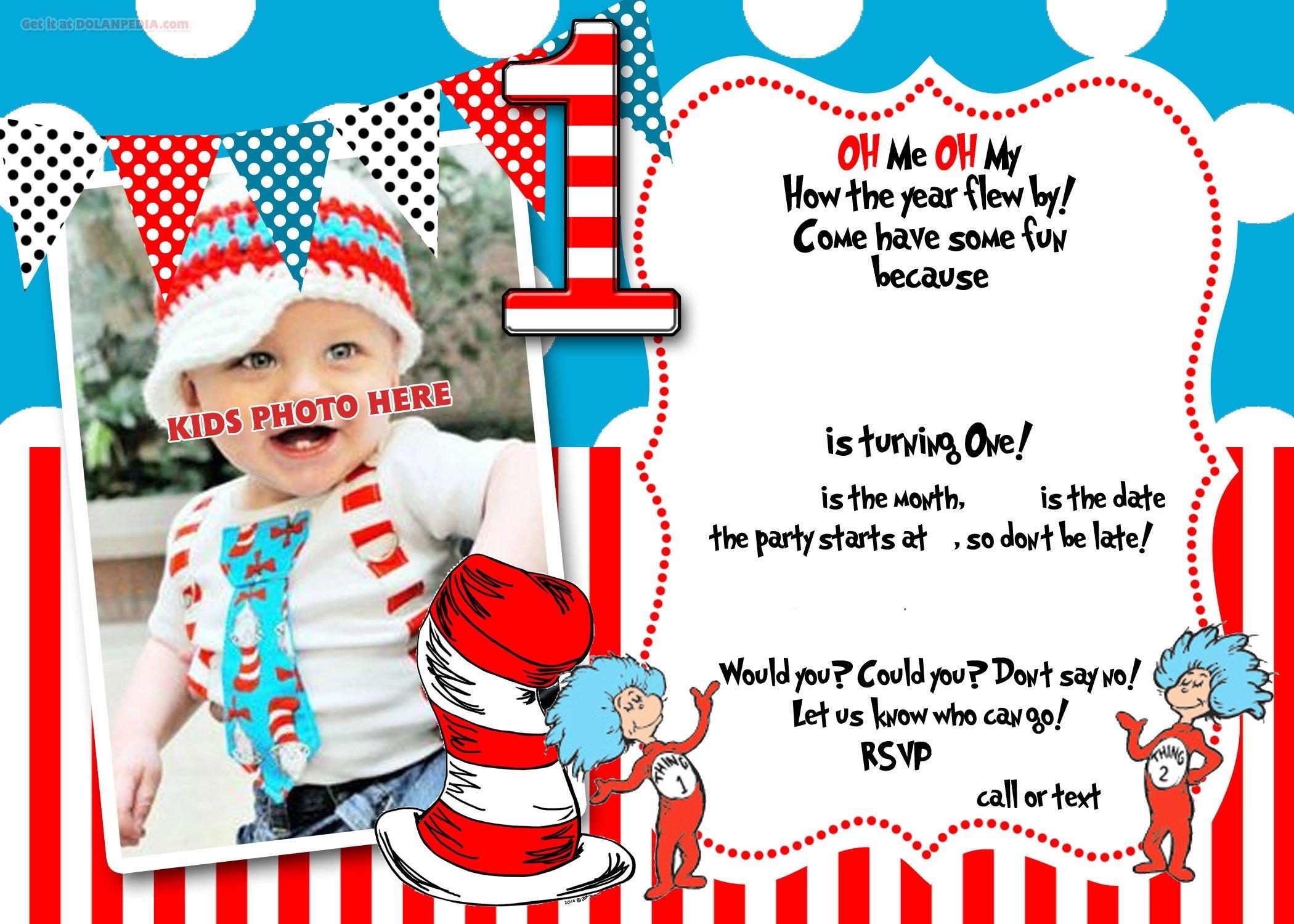 Drseuss St Birthday Invitation Template  Party Ideas  St For Dr Seuss Birthday Card Template