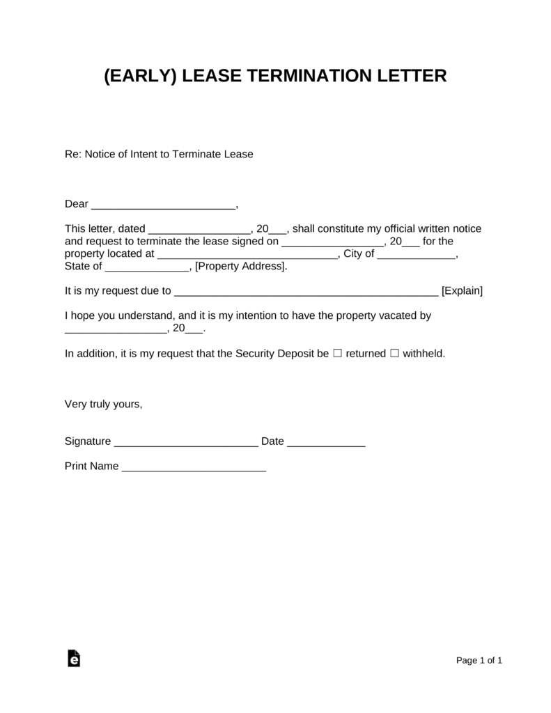 Early Lease Termination Letter  Landlordtenant  Eforms – Free With Cancellation Of Lease Agreement Template