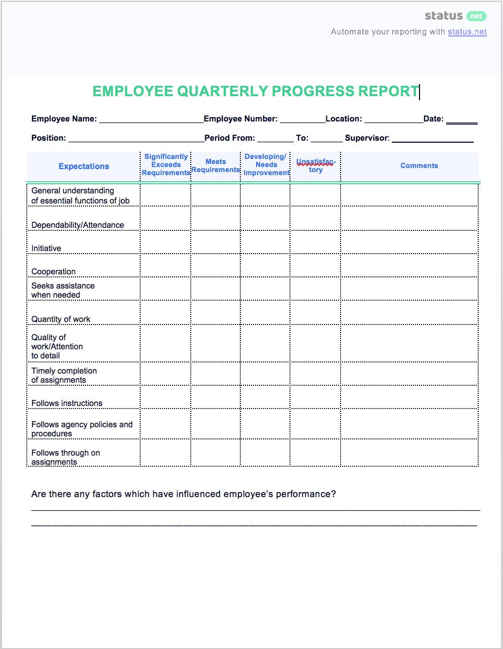 Easy Quarterly Progress Report Templates  Free Download With Business Quarterly Report Template