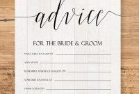 Editable Advice Cards For The Bridetobe Custom Advice Card inside Marriage Advice Cards Templates