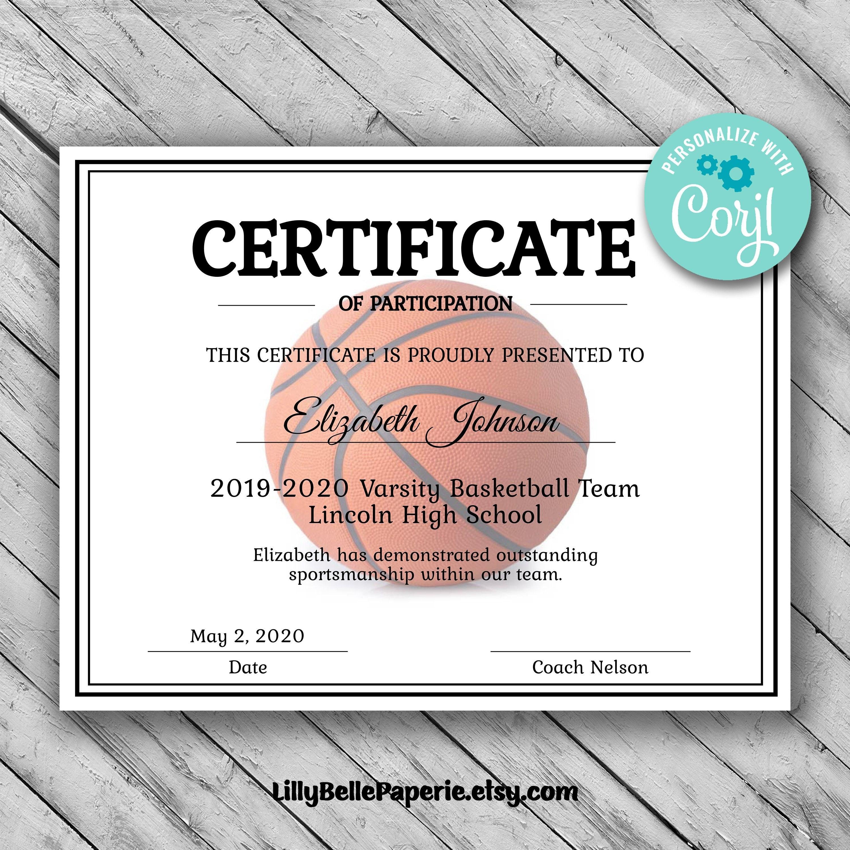 Editable Basketball Certificate Template  Printable Certificate In Basketball Certificate Template