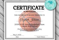 Editable Basketball Certificate Template Printable  Etsy throughout Basketball Camp Certificate Template