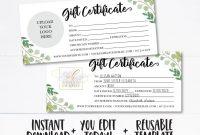 Editable Custom Gift Certificate A Gift For You Template  Etsy with Custom Gift Certificate Template