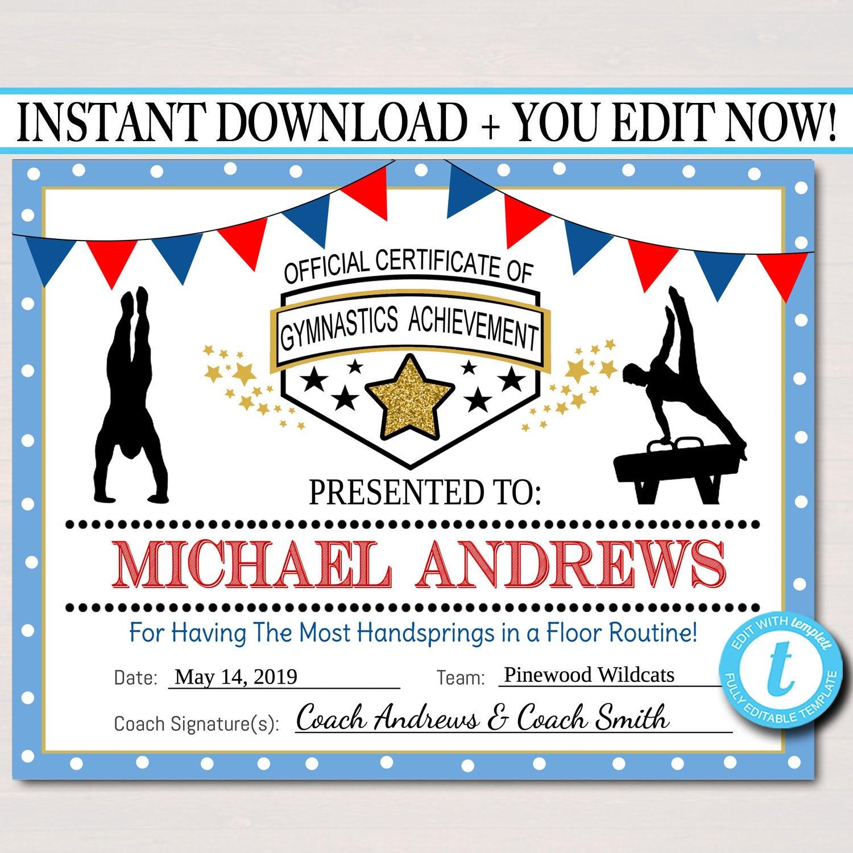 Editable Gymnastics Certificates Instant Download Gymnastics  Etsy Regarding Gymnastics Certificate Template