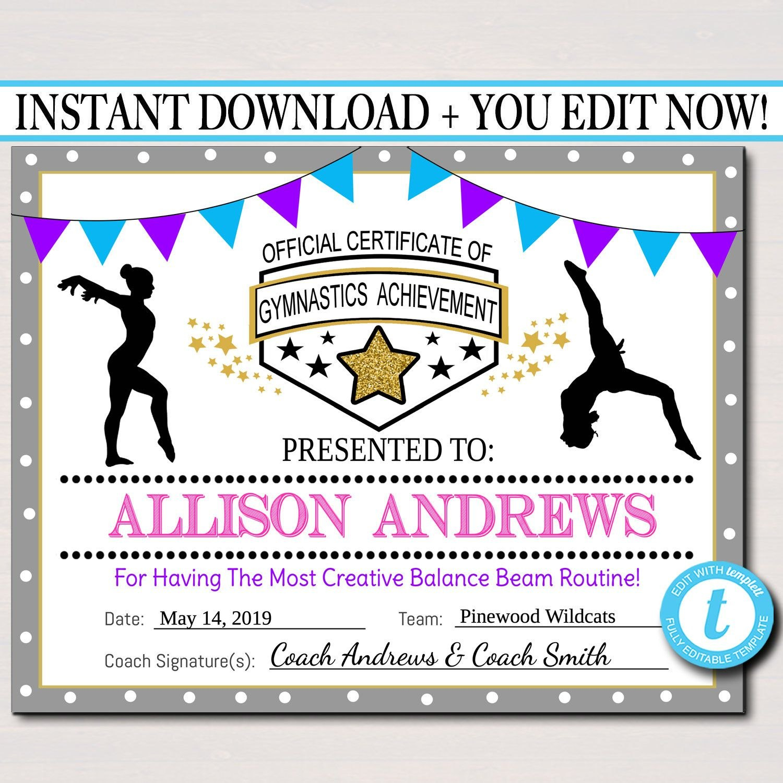 Editable Gymnastics Certificates Instant Download Gymnastics Team Within Gymnastics Certificate Template