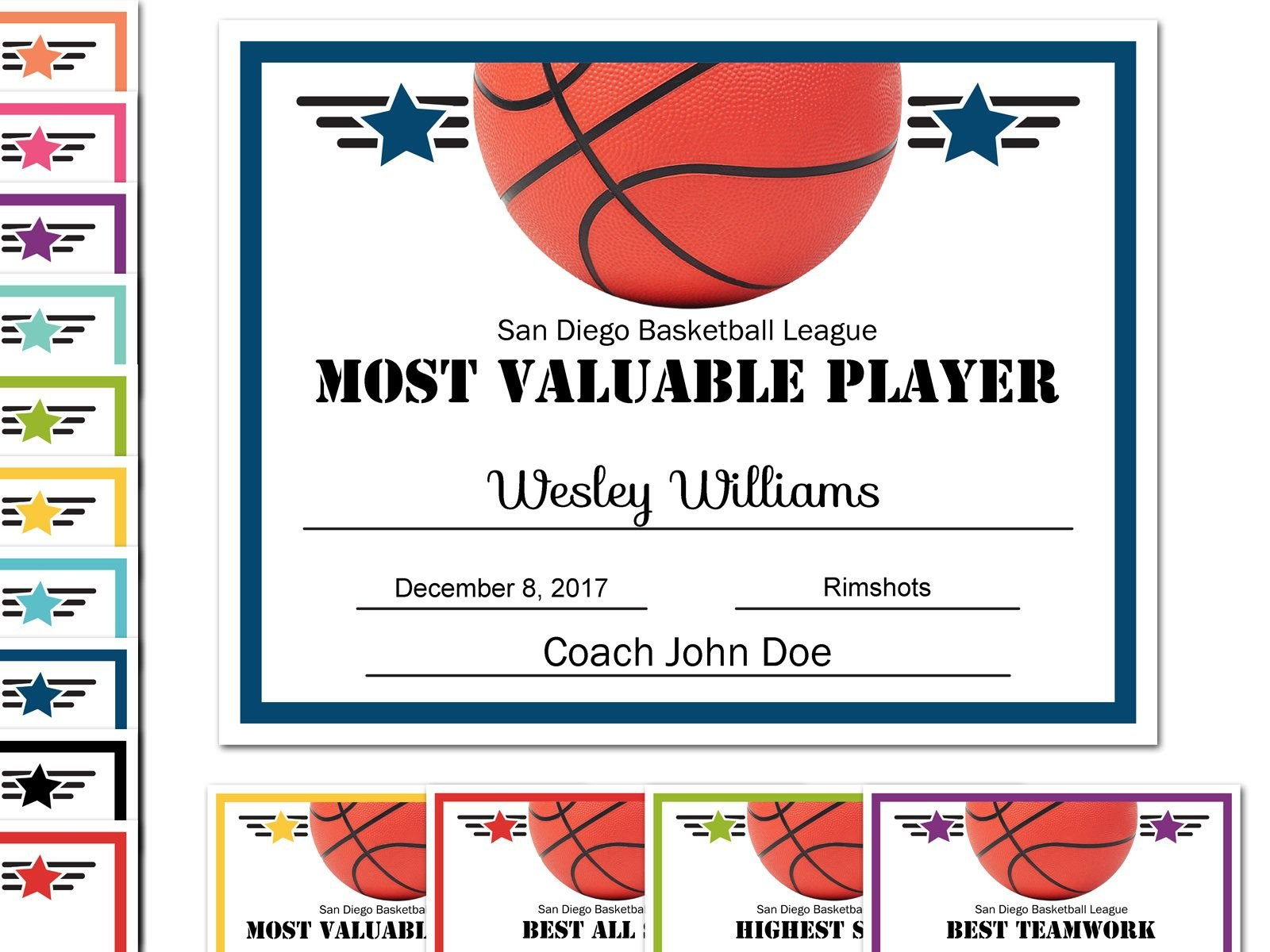 Editable Pdf Sports Team Basketball Certificate Award Template In Pertaining To Basketball Certificate Template