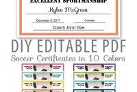 Editable Pdf Sports Team Soccer Certificate Award Template In  Etsy inside Soccer Certificate Template