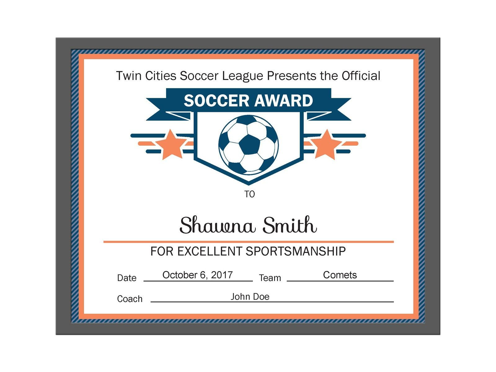 Editable Pdf Sports Team Soccer Certificate Award Template In Throughout Softball Award Certificate Template