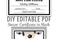 Editable Pdf Sports Team Soccer Certificate Diy Award Template In for Soccer Certificate Template
