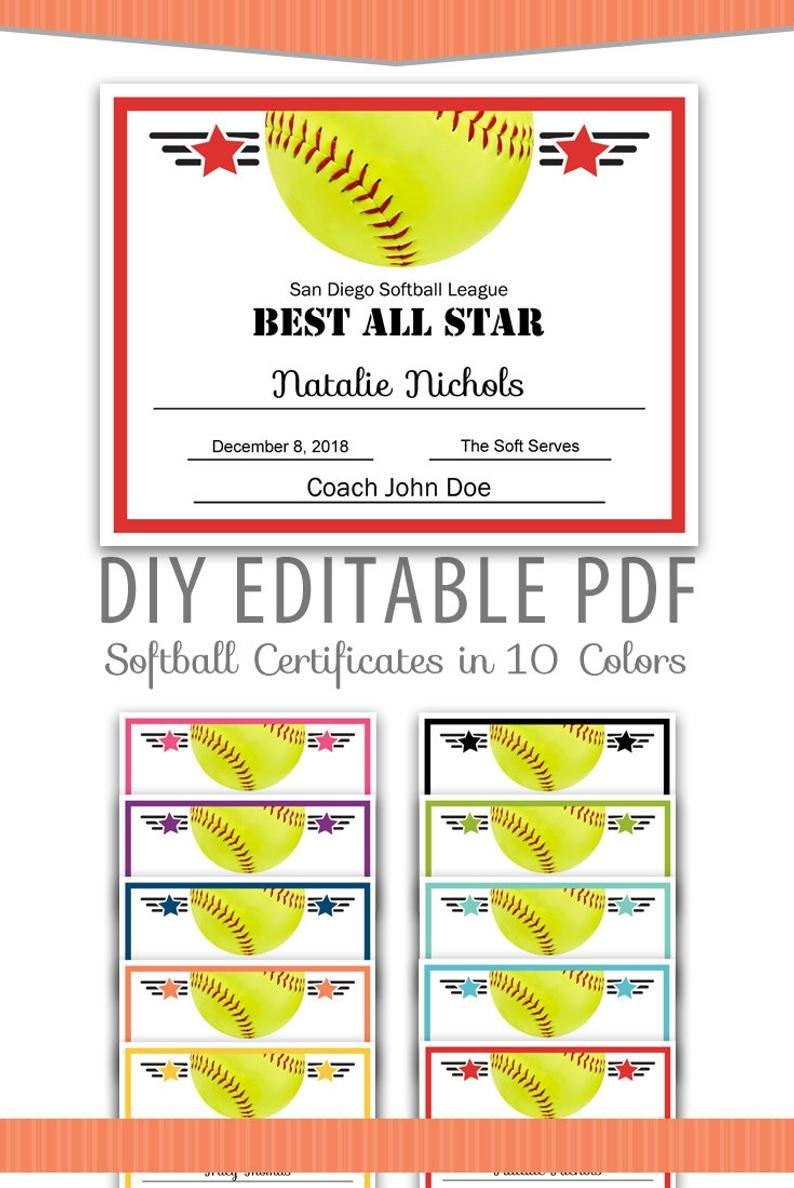 Editable Pdf Sports Team Softball Certificate Award Template  Etsy Within Softball Certificate Templates Free