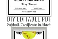 Editable Pdf Sports Team Softball Certificate Diy Award  Etsy intended for Softball Certificate Templates Free