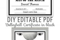 Editable Pdf Sports Team Volleyball Certificate Diy Award Template with regard to Softball Certificate Templates Free