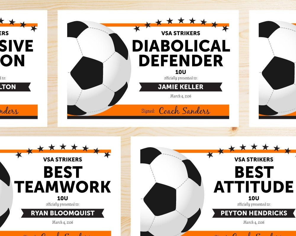 Editable Soccer Award Certificates Instant Download  Etsy Within Soccer Award Certificate Templates Free