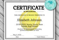 Editable Tennis Certificate Template Printable Certificate  Etsy for Tennis Certificate Template Free