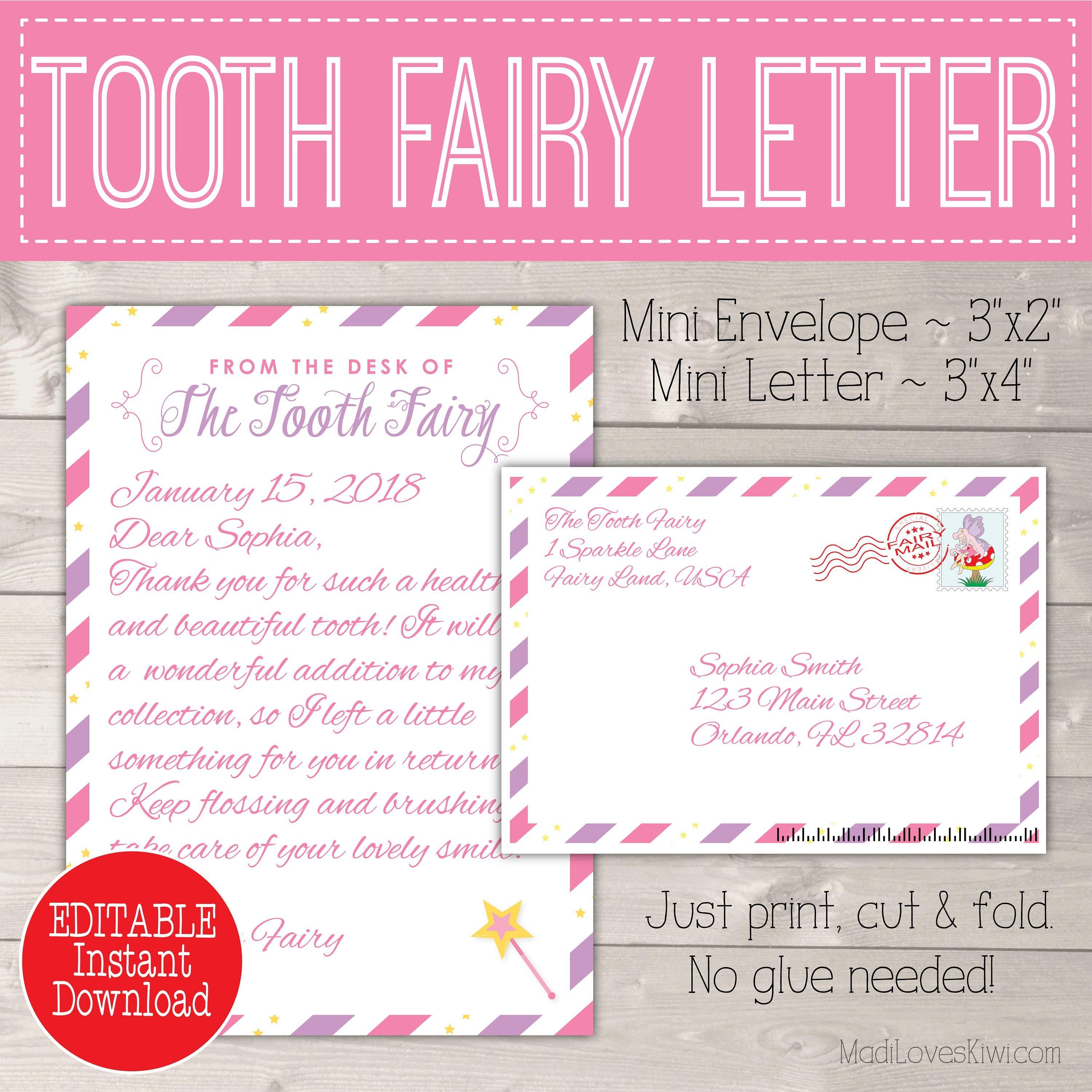 Editable Tooth Fairy Letter With Envelope  Printable Pink  Purple Intended For Tooth Fairy Certificate Template Free