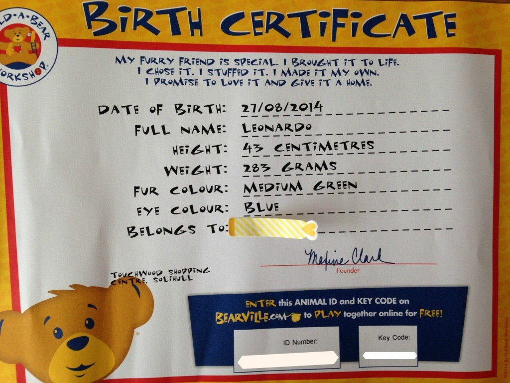 Effeacbdade Big Build A Bear Birth Certificate  Katieroseintimates For Build A Bear Birth Certificate Template