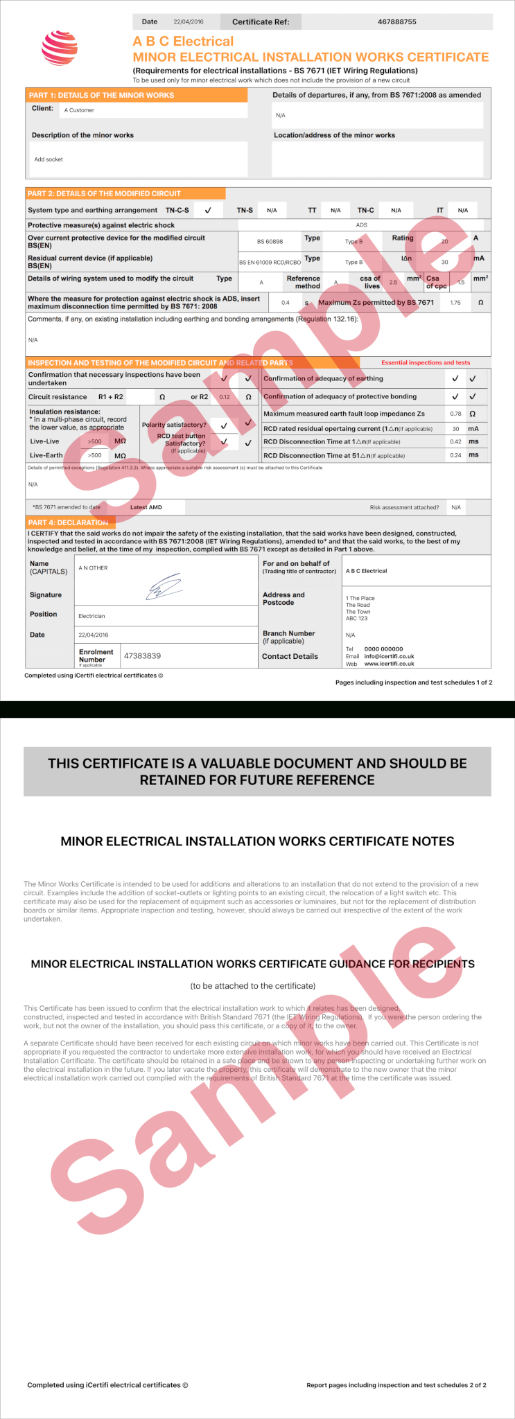 Electrical Certificate  Example Minor Works Certificate  Icertifi With Minor Electrical Installation Works Certificate Template